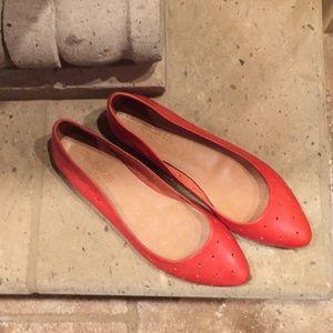 Madewell holepunch sidewalk skimmer red flats